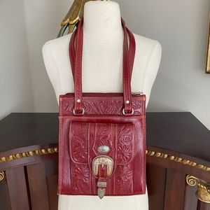 American West red leather saddle bag with buckle
